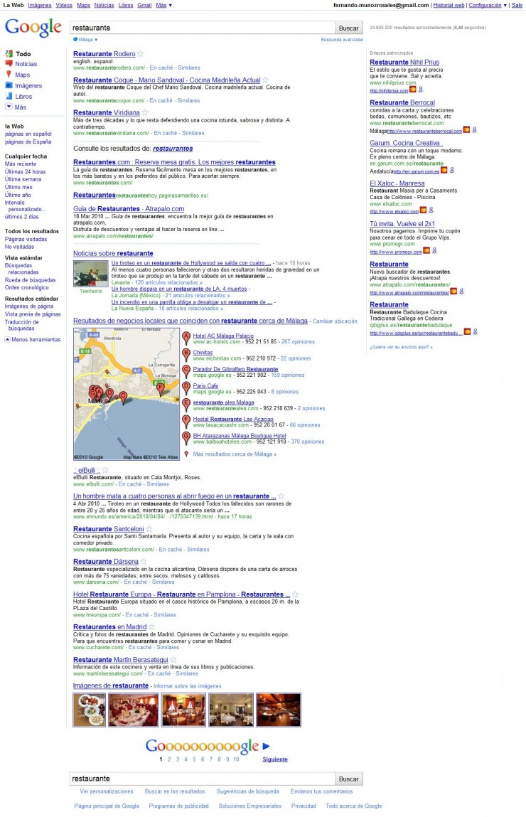 restaurantes segun google