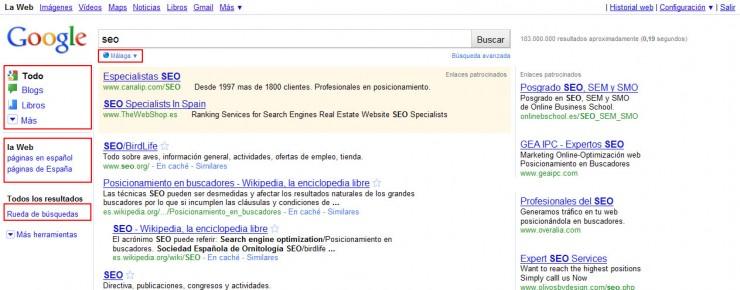 Nueva interfaz de búsqueda de Google